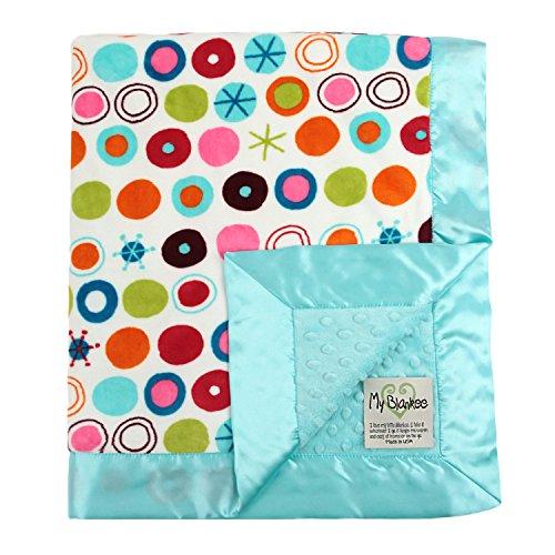 """My Blankee Circle O  Le Minky White w/ Minky Dot Aqua Baby Blanket, 30"""" x 35"""" - 1"""