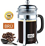 French Press ~ BRU Classic Coffee & Tea Maker with DOUBLE Screen Filter and Stainless Steel Plunger, 34-Once, Chrome