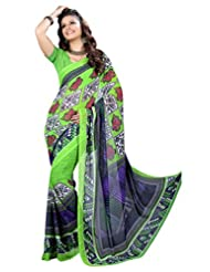 Designer Good-looking Green Colored Printed Faux Georgette Saree By Triveni