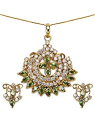 14.50 Grams Green Cubic Zirconia Gold Plated Brass Pendant Set