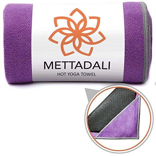 Mettadali Yoga Towel, NEW Anchor Fit Corners, 100% Satisfaction Guarantee! Stop Slipping During Bikram, Vinyasa & Hot Yoga Classes, Ultra Absorbent, Machine Washable Microfiber (Purple, 68