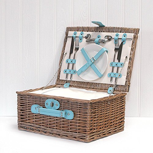 The Karly Picnic Basket - Duck Egg Blue Faux Leather, Built in Chiller, 2 Person Wicker Picnic Hamper & Accessories
