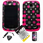 4 items Combo: ITUFFY LCD Screen Protector Film + Mini Stylus Pen + Case Opener + Black Pink Polka White Dots Design Rubberized Hard Plastic + PINK Soft Rubber TPU Skin Dual Layer Tough Hybrid Case for Straight Talk Samsung Galaxy Proclaim 720C SCH-S720C / Verizon Samsung Illusion i110