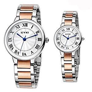 EYKI Ori-0867 Rose Gold Steel Band and white Dail Roman numerals Couple's Quartz Analog Wrist Watch