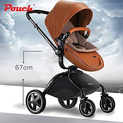 Pouch 2016 Fashion Baby Stroller, Luxury PU Leather, High-view, Bidirectional & Folding, Aluminum Alloy Frame, 4-Wheel Baby Trolley, BB Pram & Jogger white& yellow available by POUCH that we recomend individually.