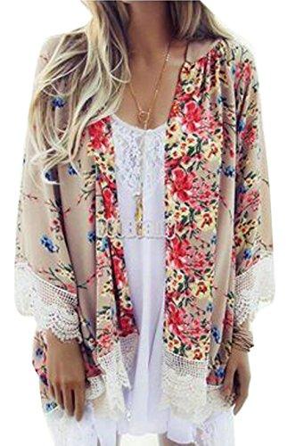 Relipop Women's Sheer Chiffon Blouse Loose Tops Kimono Floral Print Cardigan (XX-Large, Beige)