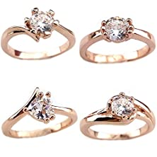 buy Mayared 4Pcs Women'S 18K Rose Gold Plated Ring Clear Cubic Zirconia Size 7