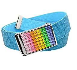 Girl\'s School Uniform Sparkly Rainbow Crystal Flip Top Belt Buckle with Canvas Web Belt Small Glitter Teal