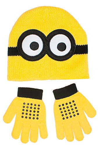 Despicable Me Minion Face Knitted Winter Beanie Hat and Gloves Set, Age 2-5