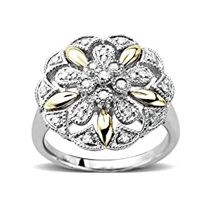 S&G Sterling Silver and 14k Yellow Gold Vintage Flower Design with Diamond Accent Ring, Size 7
