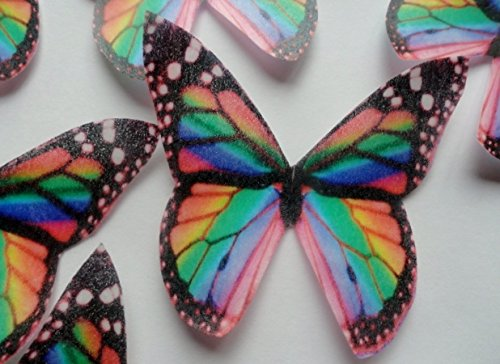 12 Rainbow Multicolored Monarch Butterfly Small Medium & Large Edible Butterflies Assorted Set - Cake Decorations, Cupcake Topper For Weddings Birthdays Anniversaries Baby Showers front-49281