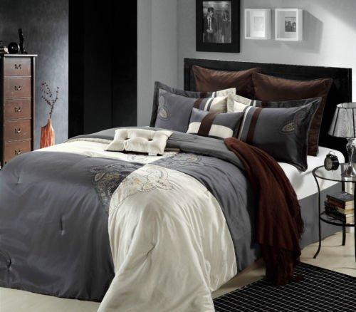 12Pc Luxury Bed In A Bag Bedding Comforter Set & Sheet Set Hipster Grey front-998718