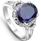 EVER FAITH Brillant Bleu- Bague Alliance Argent 925 Vintage Style Ovale Zircon - Taille 56.5 N06647-7