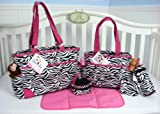 SoHo Collection, Pink Zebra 6 pieces Diaper Bag set *Limited time offer !*