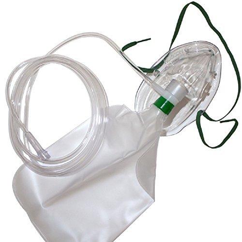 Hudson Adulto Nonrebreathing Maschera Con Sicurezza Con Aperture 2.1m Oxygen Tubature - Modello 1059