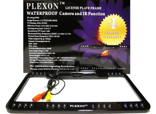 """Plexon License Plate Frame Waterproof Camera, 170 Lens Angle, Ir Function, Dimensions: 12-1/3""""X6-1/3""""X1"""", Color: Black front-498846"""