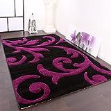Designer Teppich Festival mit Konturenschnitt Muster Lila Schwarz Violet, Grösse:200×290 cm