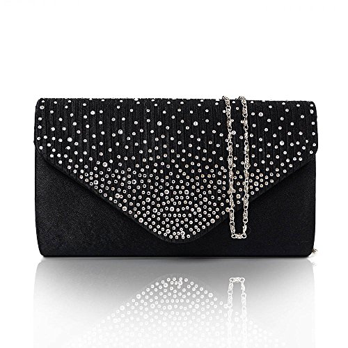 Diamonte Envelope Clutch Shoulder Bag Purse Womens