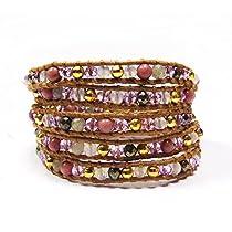 Pink Stone Mix Wrap Bracelet   Chan Luu Style Wrap Bracelet