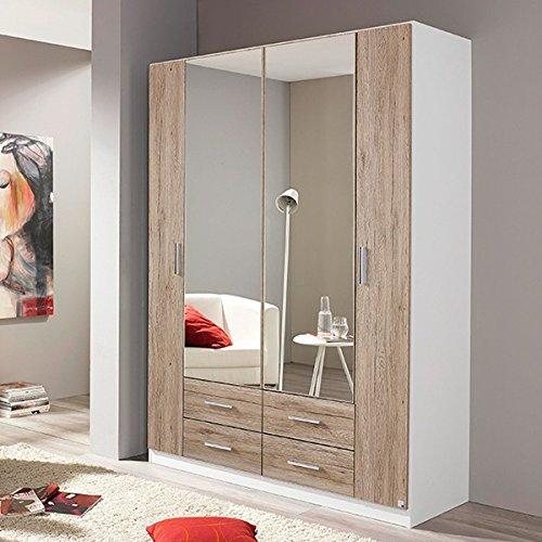 Kleiderschrank grau / weiß 4 Türen B 136 cm eiche sanremo Schrank Drehtürenschrank Wäscheschrank Spiegelschrank Kinderzimmer Jugendzimmer günstig kaufen