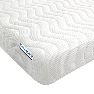 Bedzonline Memory Foam and Reflex 3 Zone Mattress with 2 Fibre Pillows Micro Quilted cool flex Cover, Double, 4 ft 6-inch, 135 x 190 cm