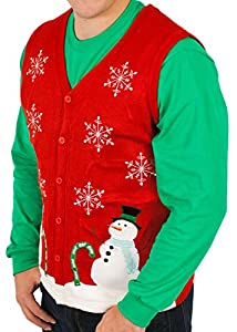 Skedouche Men's Ugly Christmas Lighted Wonderland Vest with LED Lights Sweater