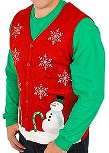 Skedouche Men's Ugly Christmas Lighted Wonderland Vest with LED Lights Sweater