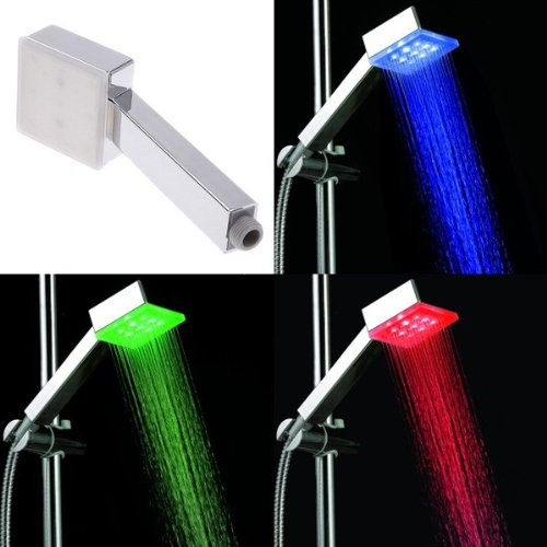 Square 7 Color Changing Led Shower Head Automatic Control Sprinkler