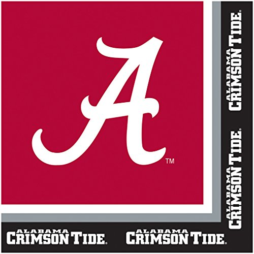 Creative Converting Collegiate 20 Count University of Alabama Lunch Napkins, Crimson/Black (Themed College Parties)