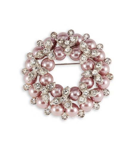 Silver Tone White CZ Pink Pearl Color Floral Brooch Pin