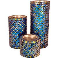 Coolethnic Decorative Antique Pillar Candle Holder - Turquoise & Onyx Mosaic (Set Of 3)