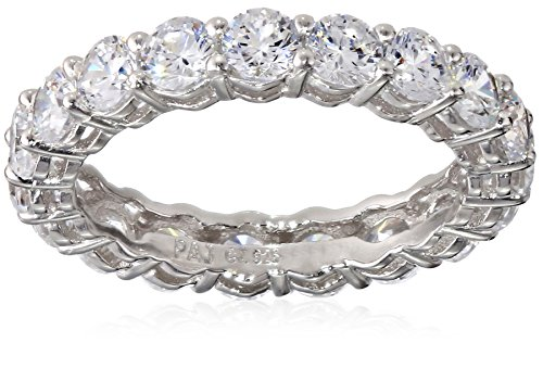Platinum Plated Sterling Silver Round Cubic Zirconia All-Around Band Ring, Size 7