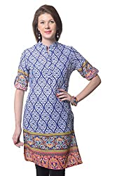 Meira Full Sleeve Chinese Collar White Cotton Kurti for Women (Large)