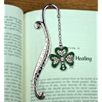 Irish Jeweled Enameled Shamrock Metal Bookmark