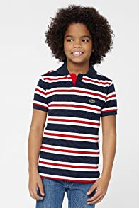 Boy's Short Sleeve Stripe Johnny Collar Pique Polo