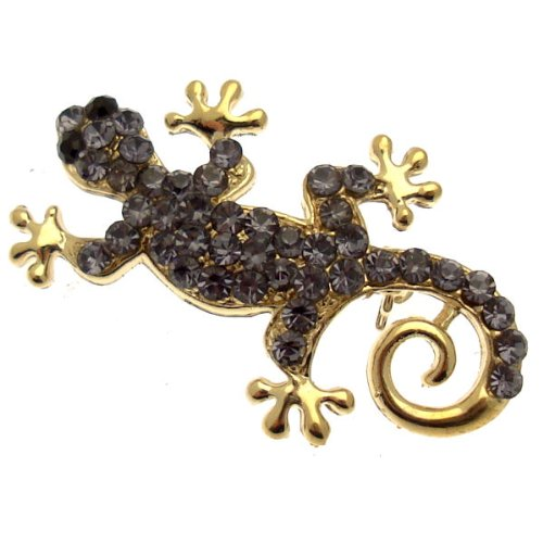 Acosta - Small Tanzanite Purple Crystal Gecko Lizard Brooch (Gold Coloured) - Gift Boxed