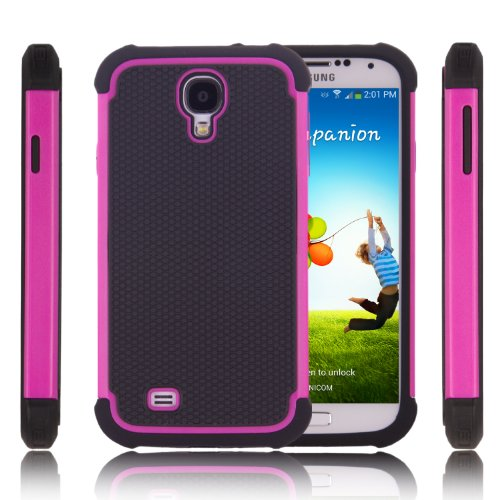 MOACC Samsung Galaxy S4 SIV S IV i9500 Protective Case 2 Layer Hybrid Protection Cover with Inner Soft Case and Hard Outter Shell with 1 Free Screen Protector Film -Pink