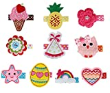 Bundle Monster 10 pc Baby Girls Embroidered Design Fabric Hair Clip Accessories