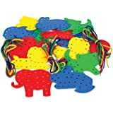 Play & Discover Animal Lacing Shapes   4 Each of 4 Designs   with 16 Laces , Pack of 16