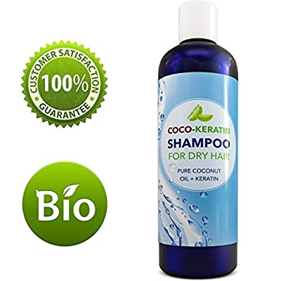 Shampoo with Coconut Oil & Keratin For Hair Growth - Shampoo for Dry Hair - Premium Coco-Keratin Formula - Strengthen Hair - Conditioning Shampoo for Men & Women - 8 0Z - Safe for Color Treated Hair