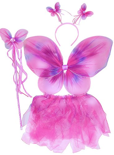 Neon Fairy Butterfly Costume Tutu Set (4 pc) Select Color: Pink & Purple