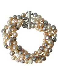 Cultured Freshwater Peach/Silver grey/White Baroque Pearl four strand chunky Bracelet with silver clasp, presented...