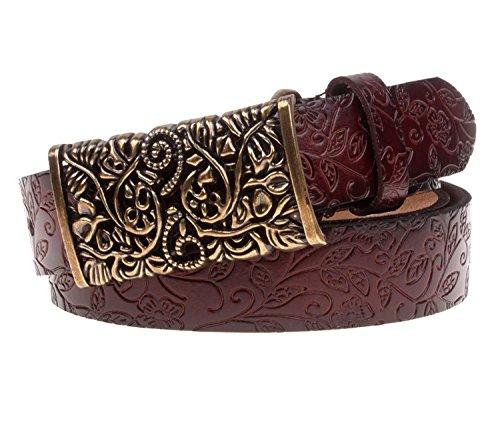 Dawdyfu Vintage Carved Leather Belts for Jeans