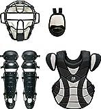 ZETT(ゼット) 野球 軟式 キャッチャー防具4点セット(J.S.B.B) ブラック×シルバー BL316