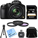 "Panasonic LUMIX DMC-FZ70 Digital Camera 16GB Accessory Bundle includes: LUMIX DMC-FZ70 16.1 MP Digital Camera with 60x Optical Image Stabilized Zoom, Carry Case, 16GB Memory Card, 55mm Filter kit (set of 3), Card Reader, 5"" Mini Tripod, & Beach Camera Cloth"