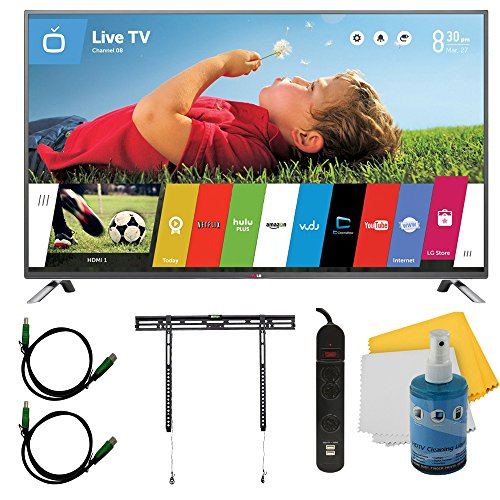 """55"""" 1080P 120Hz Led Smart Hdtv With Webos Plus Mount & Hook-Up Bundle (55Lb6300). Bundle Includes Tv, Flat Tv Mount, 3 Outlet Surge Protector W/ 2 Usb Ports, 2 -6 Ft High Speed Hdmi Cables, Performance Tv/Lcd Screen Cleaning Kit, And Cleaning Cloth."""