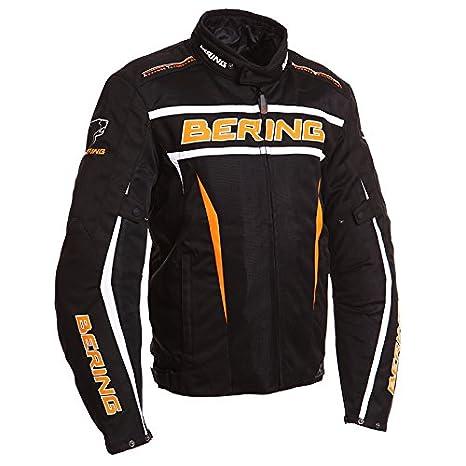 Bering - Blouson moto - Bering LUCKY Noir/Orange
