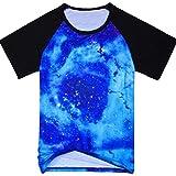 DUSTSTROKE ( ダストストローク ) スペース ギャラクシー 宇宙 柄 総柄 星柄 ( 小さい サイズ も )(4 デザイン から 選べる ) S M L メンズ 半袖 Tシャツ ラグラン おしゃれ ストリート カジュアル アメカジ きれいめ ダンス 丸首 V ネック (宇宙 ブルー S)