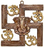 #8: JaipurCrafts Wall Hanging Of Lord Ganesha On Swastik With Om Showpiece - 22.86 cm