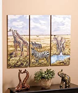 Set of 3 decorative african safari elephant African elephant home decor